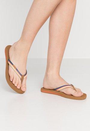 FREEDOM - T-bar sandals - stone