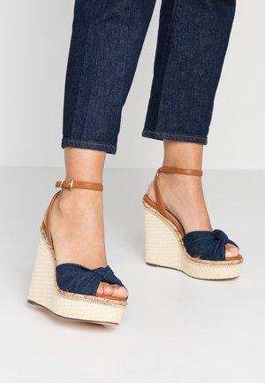 Sandály na vysokém podpatku - denim