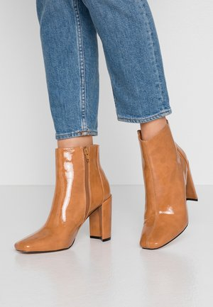 High heeled ankle boots - caramel