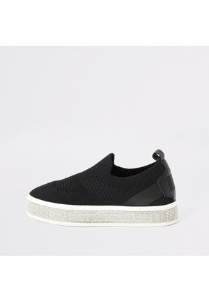 GIRLS BLACK KNITTED DIAMANTE TRAINERS - Baskets basses - black