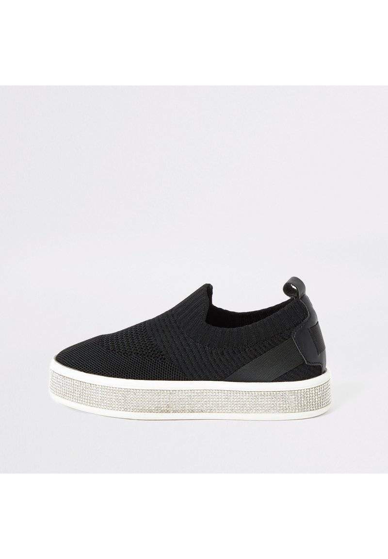 River Island - GIRLS BLACK KNITTED DIAMANTE TRAINERS - Sneakers laag - black