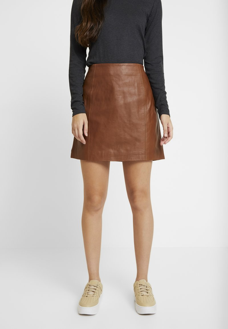 River Island - SIDE ZIP SKIRT - Mini skirt - brown