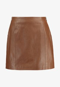 River Island - SIDE ZIP SKIRT - Mini skirt - brown - 3