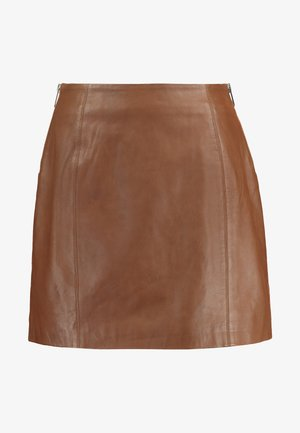 SIDE ZIP SKIRT - Minirok - brown
