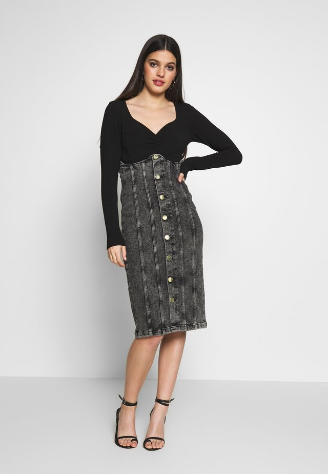 Denim skirt - black acid