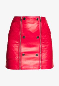 River Island - QUILTED POPPER - Mini skirt - red - 3