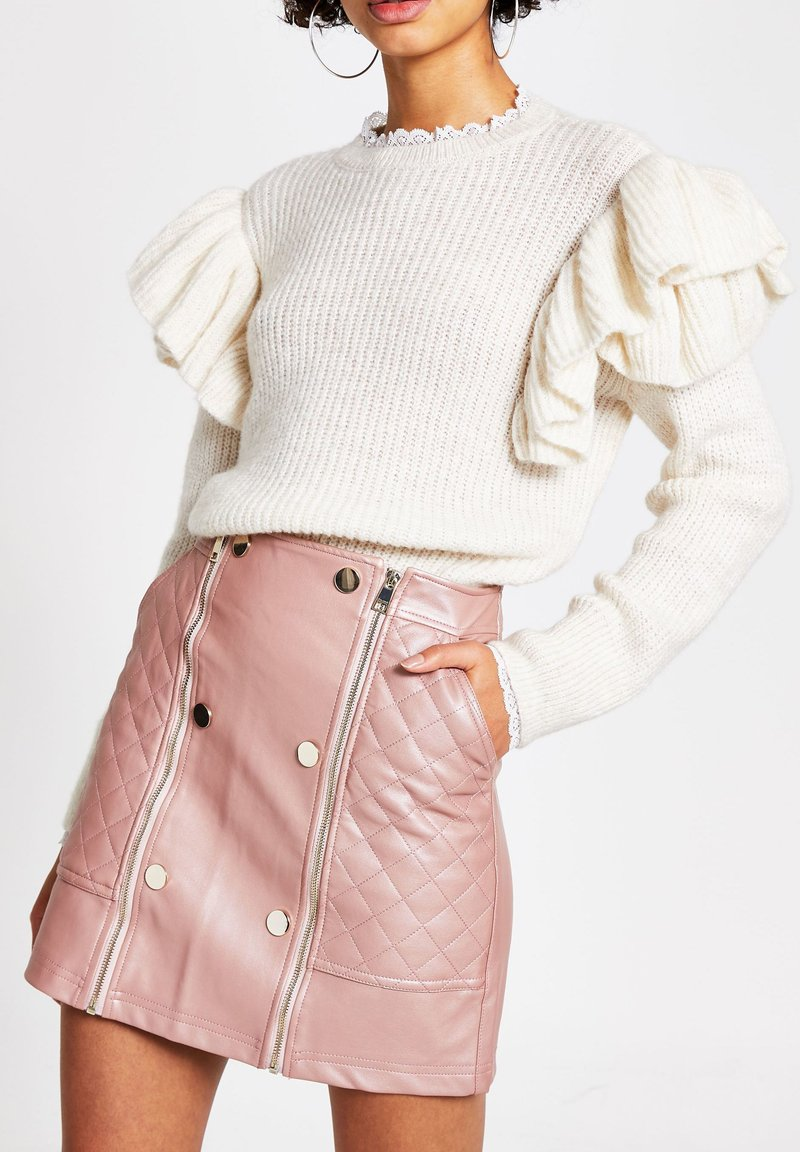 River Island - PINK FAUX LEATHER QUILTED ZIP MINI SKIRT - Jupe trapèze - pink