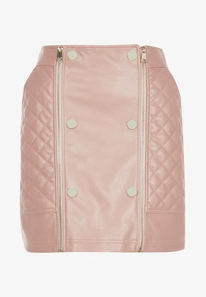 PINK FAUX LEATHER QUILTED ZIP MINI SKIRT - A-linjekjol - pink