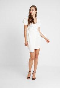 River Island - LIVERPOOL PUFF SLEEVE WRAP DRESS - Day dress - white - 1
