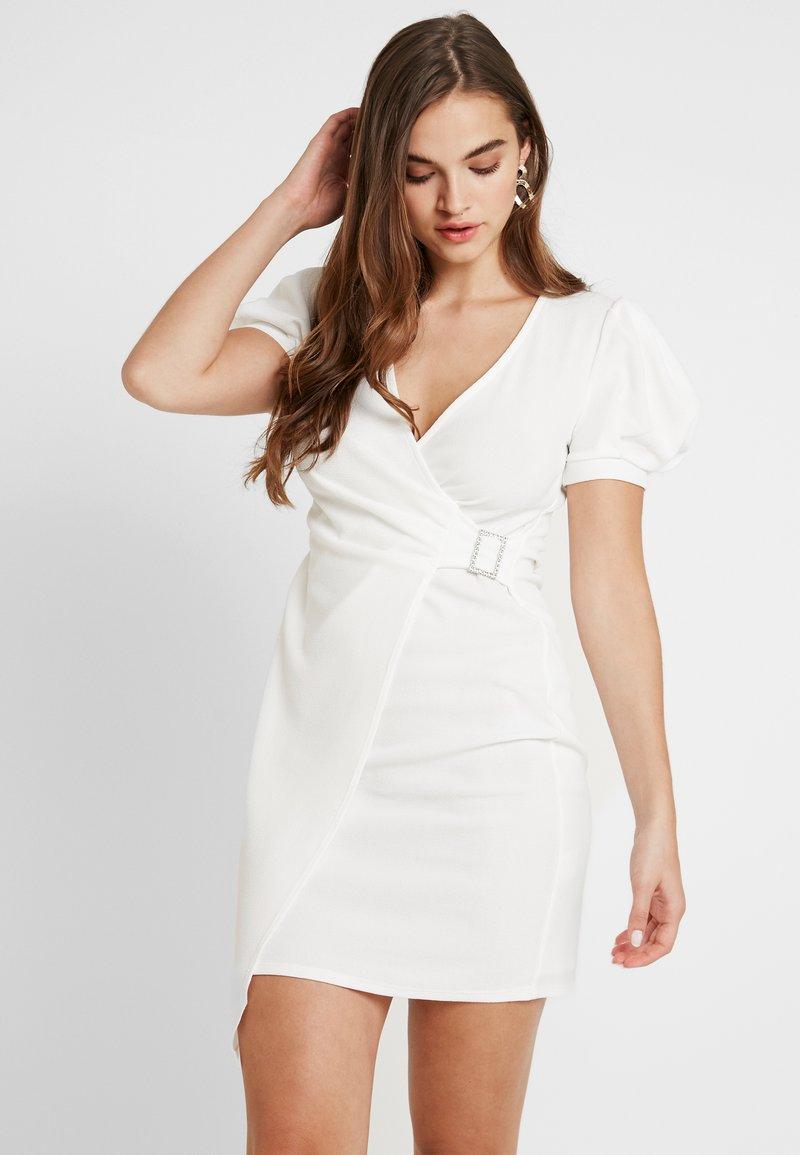 River Island - LIVERPOOL PUFF SLEEVE WRAP DRESS - Day dress - white