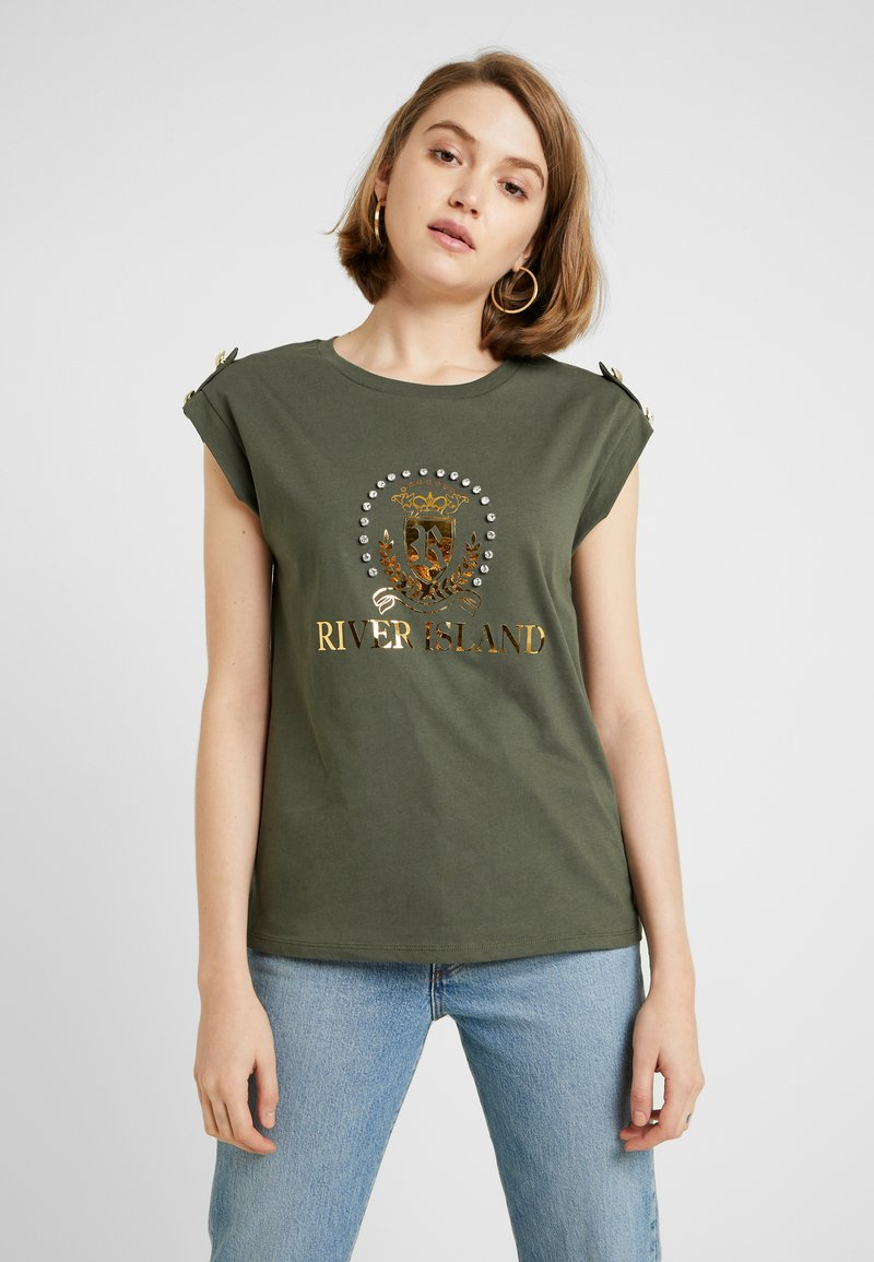 River Island - Print T-shirt - khaki