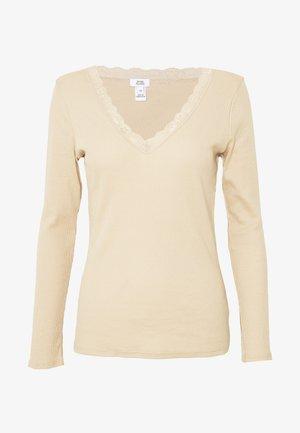 LACE NECK TRIM - Camiseta de manga larga - nude