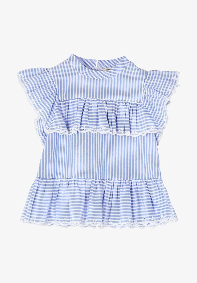 MINI GIRLS BLUE STRIPE FRILL EMBROIDERED TOP - Blus - blue