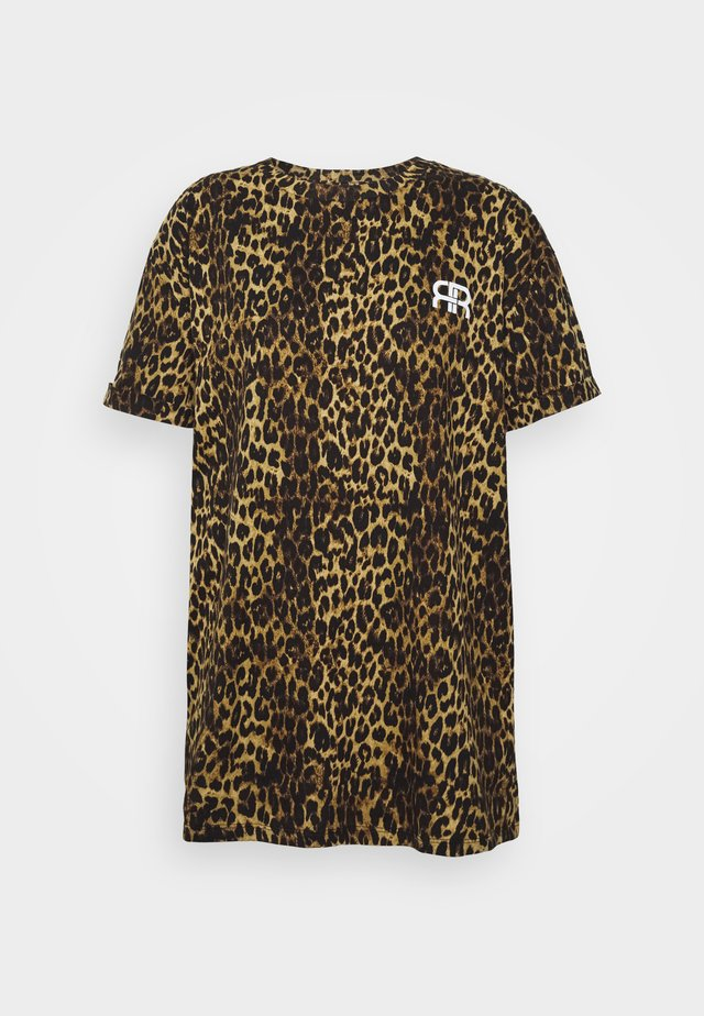 Print T-shirt - brown/black
