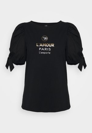 BLACK LAMOUR PARIS POPLIN TIE TEE - Print T-shirt - black