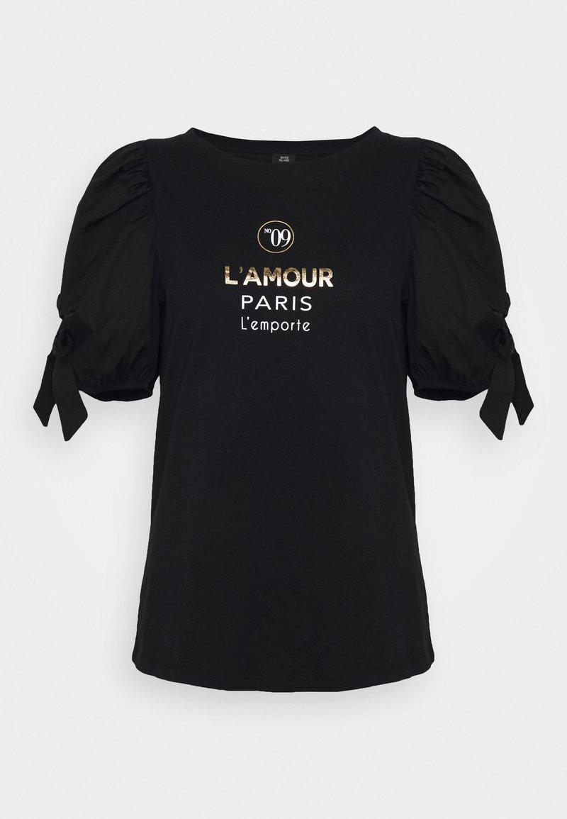 River Island - BLACK LAMOUR PARIS POPLIN TIE TEE - Print T-shirt - black