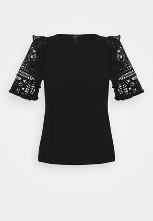 CROCHET FRILL SLEEVE TOP - T-shirt basic - black