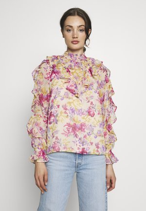 CARMELLS SHEER HIGH NECK FRILL  - Blouse - pink print
