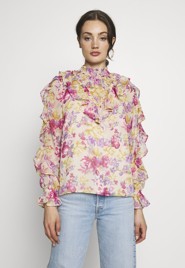 CARMELLS SHEER HIGH NECK FRILL  - Blus - pink print
