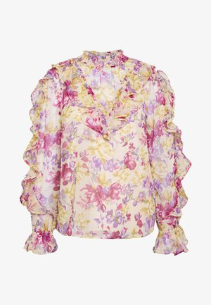 CARMELLS SHEER HIGH NECK FRILL  - Pusero - pink print