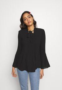 River Island - AVA PLISSE PUSSYBOW TOP - Blouse - black - 0