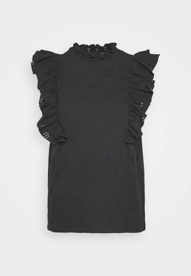 BRODERIE SHIRRED NECK - T-shirt print - black