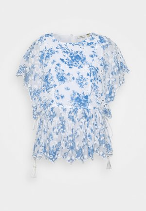 EMBROIDERED WAISTED - Blusa - blue