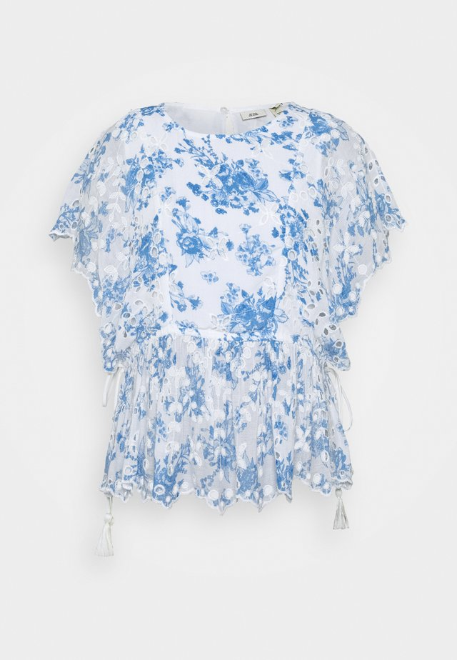 EMBROIDERED WAISTED - Blouse - blue