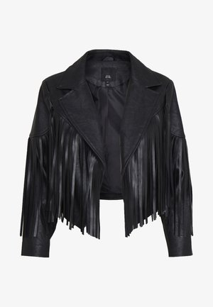 FRINGED CROPPED JACKET - Keinonahkatakki - black