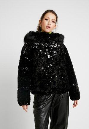 SEQUIN PUFFER - Classic coat - black