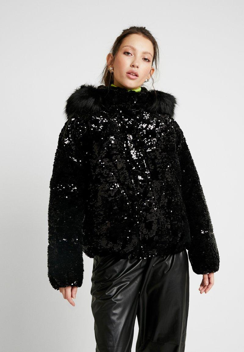 River Island - SEQUIN PUFFER - Classic coat - black