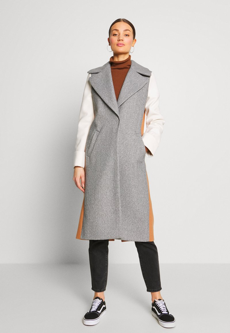 River Island - ADRIANA COAT COLOURBLOCK - Mantel - grey