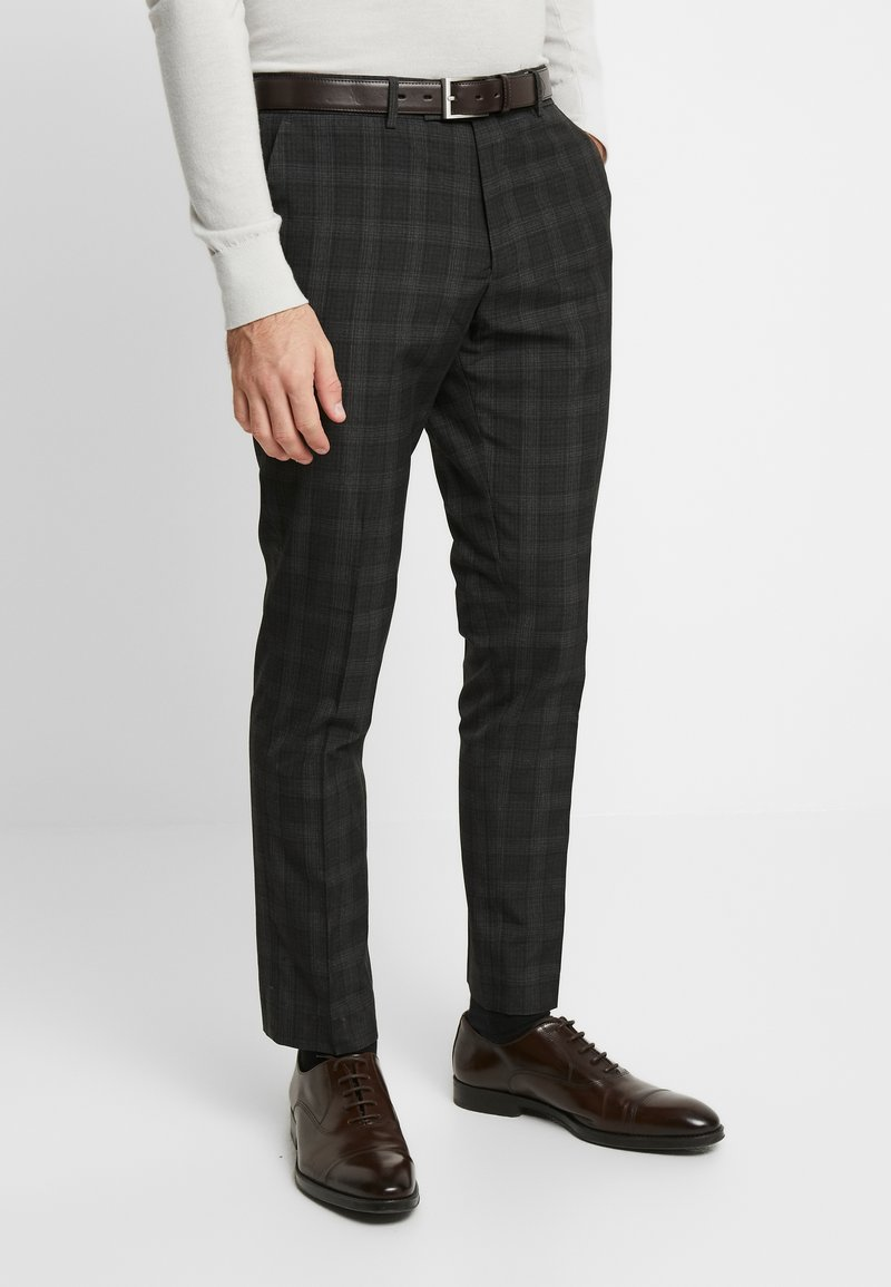 River Island - SKINNY CHECK  - Suit trousers - grey