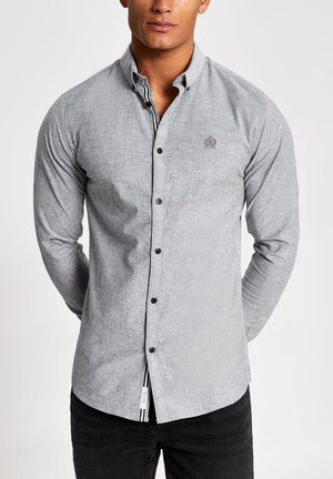 GREY MUSCLE FIT LONG SLEEVE OXFORD SHIRT - Camisa - grey