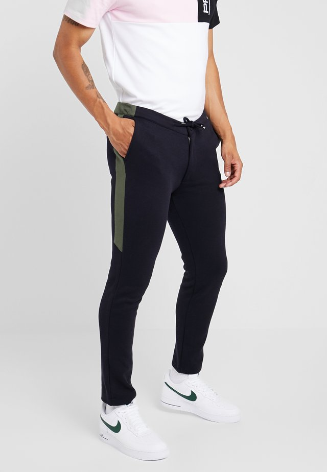 SCOTCH JOGGER WITH CHARCOAL SIDE PANEL - Trousers - navy