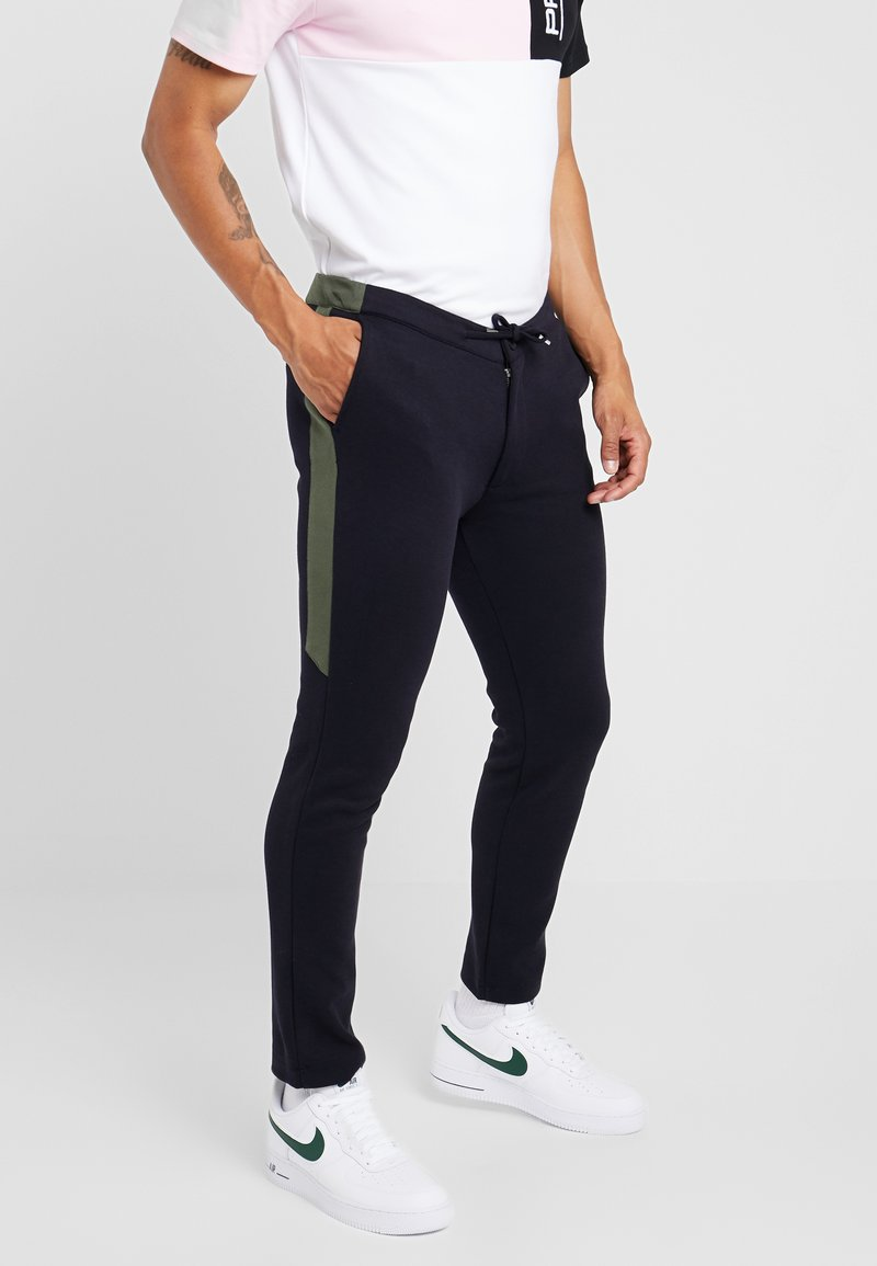 River Island - SCOTCH JOGGER WITH CHARCOAL SIDE PANEL - Spodnie materiałowe - navy