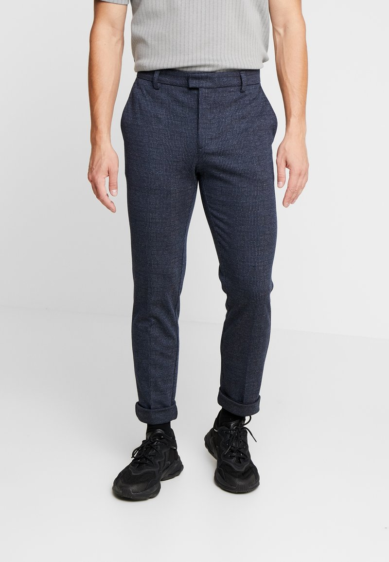 River Island - CHECK TROUSER - Stoffhose - navy