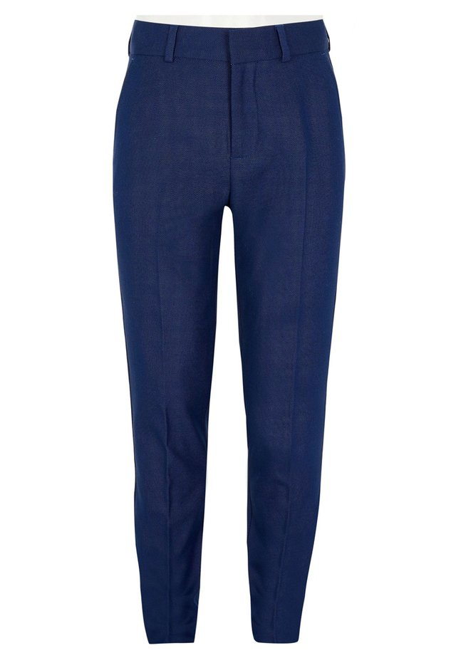 BOYS NAVY PIN DOT PRINT SUIT TROUSERS - Kostymbyxor - blue