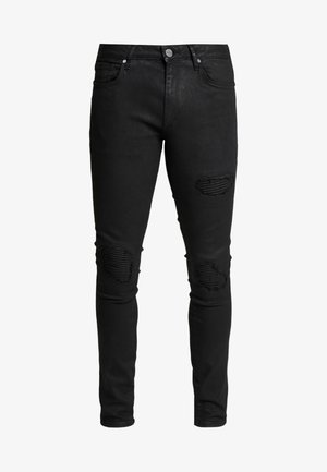 COATED BIKER - Jeans Skinny Fit - black