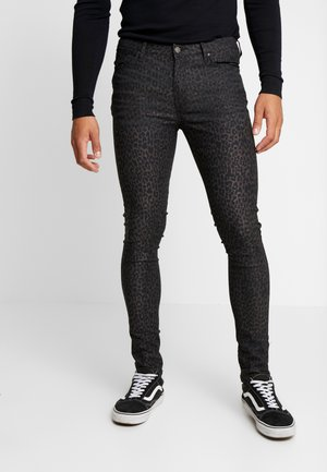 COATED LEOPARD - Jeansy Skinny Fit - black