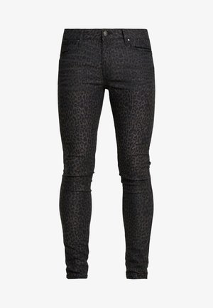 COATED LEOPARD - Jeans Skinny Fit - black
