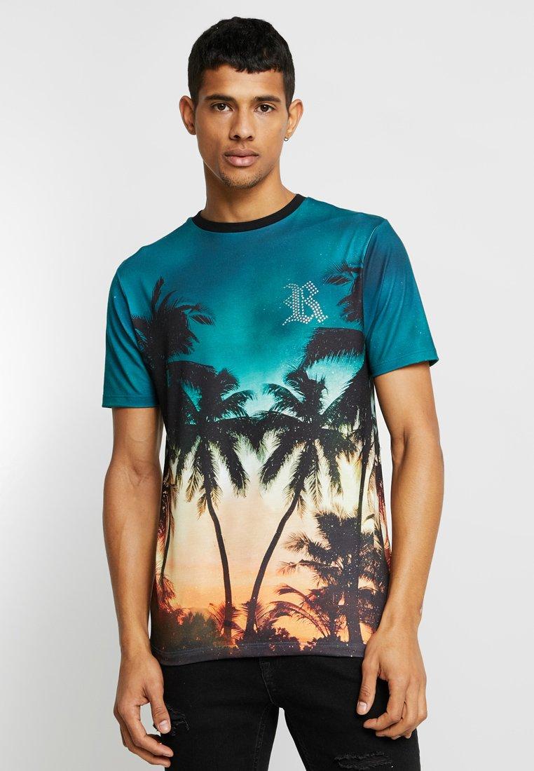 River Island - SUNSET PALM TEE - T-Shirt print - blue