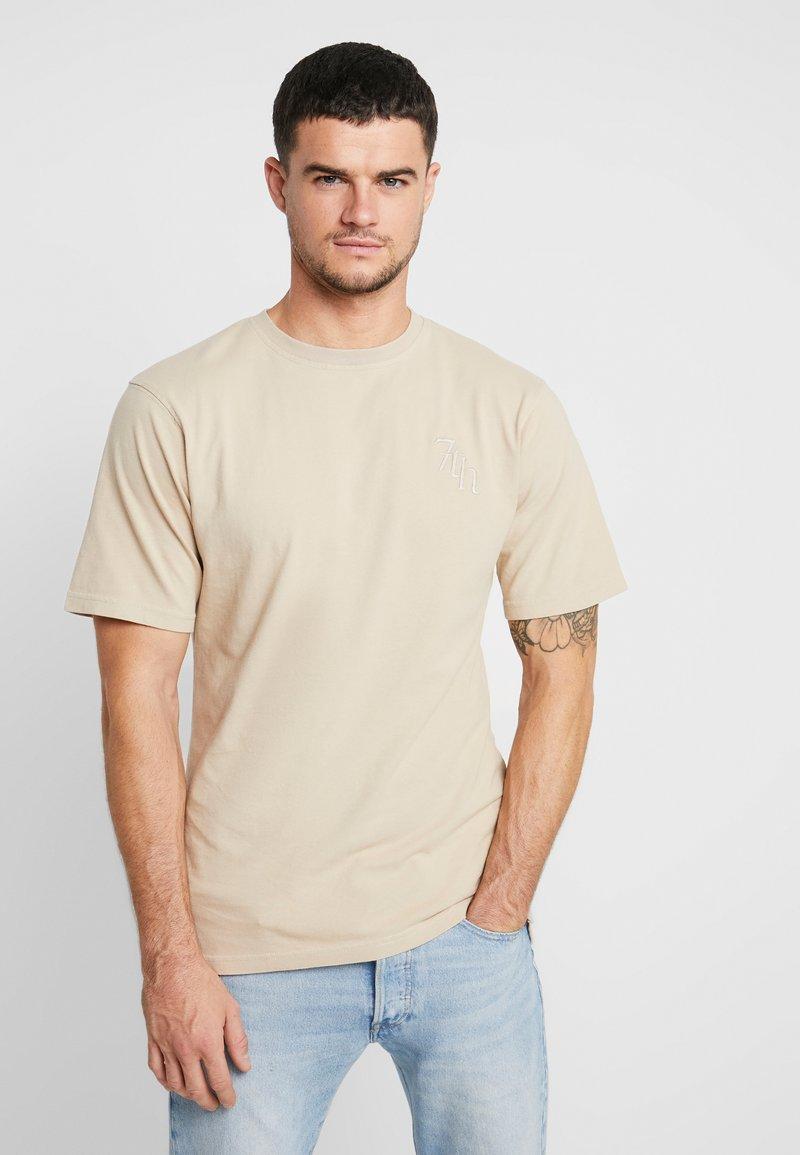 River Island - Camiseta estampada - stone/ecru