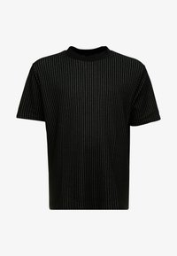 River Island - BLACK HIGH NECK TRAM STRIPE - Print T-shirt - black