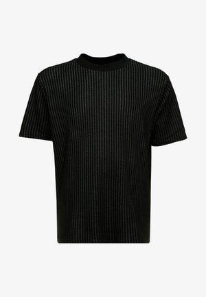BLACK HIGH NECK TRAM STRIPE - T-shirt print - black