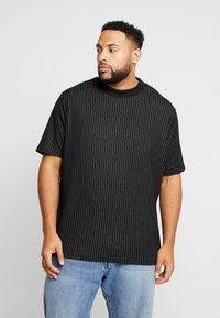 River Island - BLACK HIGH NECK TRAM STRIPE - Print T-shirt - black - 0