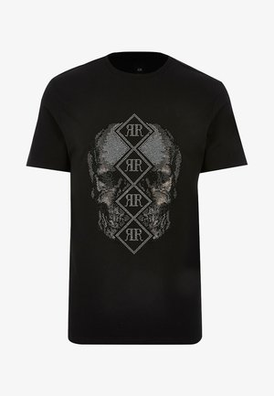 SKULL RI DIAMANTE  - T-shirt imprimé - black