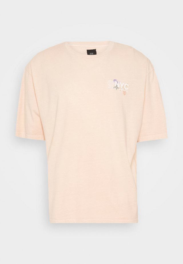 VINCIT OMNIA FLORAL TEE - T-shirt med print - stone/ecru