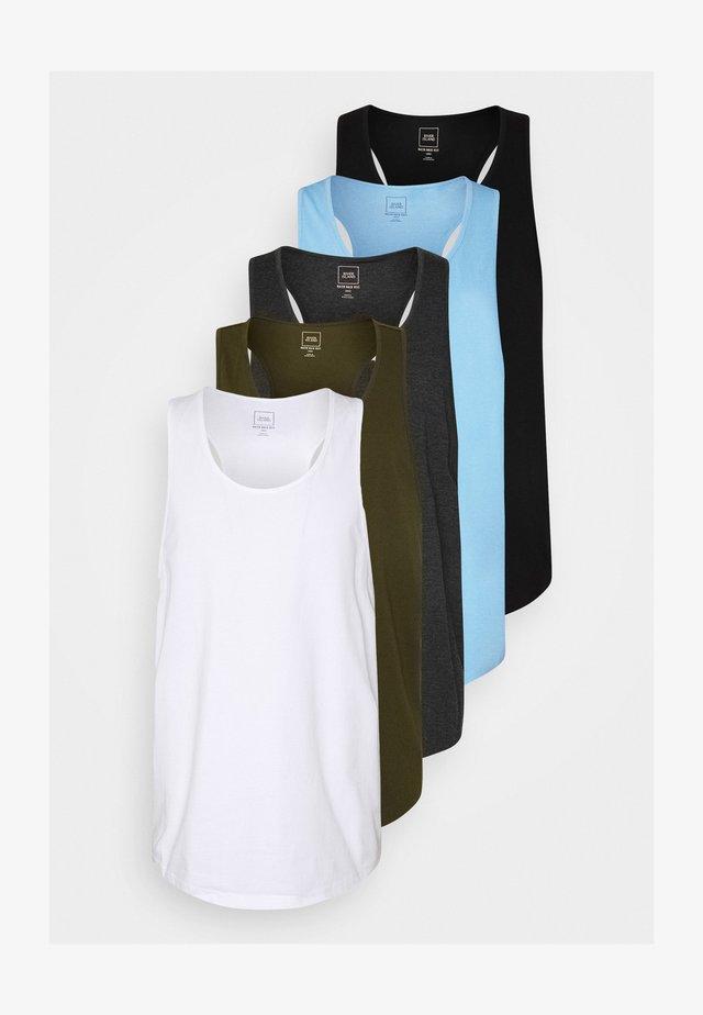 5 PACK - T-shirt basique - white/dark grey melange/light blue/khaki/black
