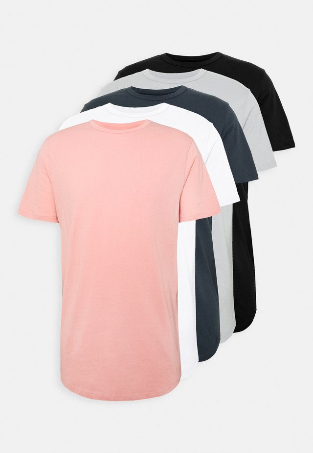 5 PACK - Basic T-shirt - pink/white/grey/dark grey/black